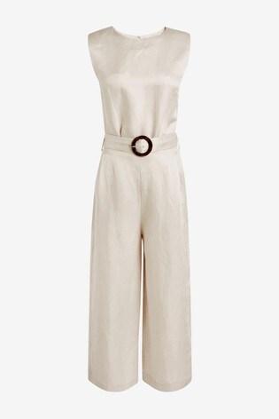 Cream Belted Jumpsuit