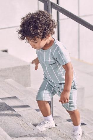 Mineral Blue Vertical Stripe T-Shirt and Shorts Set (3mths-7yrs)