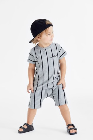 Grey Vertical Stripe T-Shirt and Shorts Set (3mths-7yrs)