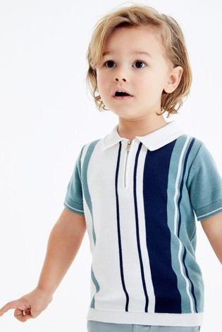 Mint Knitted Vertical Stripe Polo Shirt (3mths-7yrs)