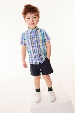Rainbow Check Shirt Cotton Short Sleeve (3mths-7yrs)