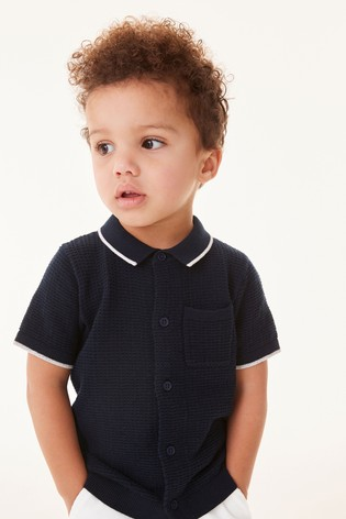 Navy Knitted Button Through Polo (3mths-7yrs)