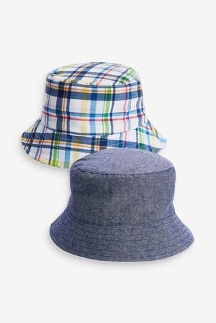 Check/Chambray 2 Pack Bucket Hats (3mths-10yrs)