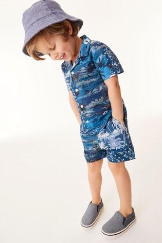 Blue Palm Print Shirt & Short Set Cotton Short Sleeve (3mths-7yrs)