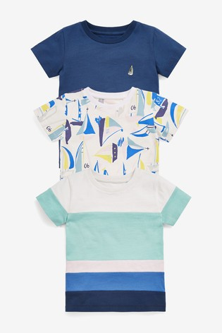 Blue Boat 3 Pack T-Shirts (3mths-7yrs)