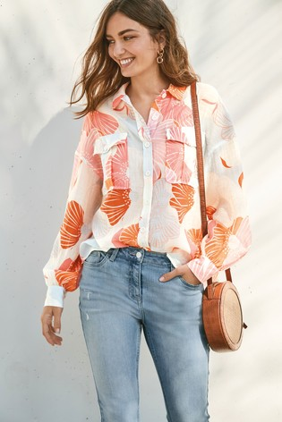 Pink Floral Utility Shirt