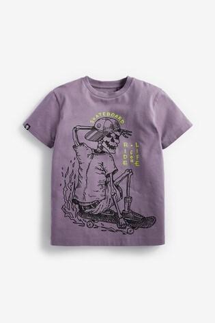 Purple Skate Skeleton Graphic T-Shirt (3-16yrs)