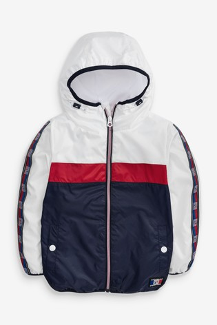 Red/White/Navy Colourblock Shower Resistant Cagoule (3-16yrs)