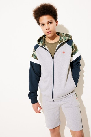 Camouflage Hooded Zip Through Top and Short Set (3-16yrs)