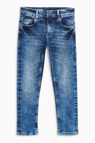 Mid Blue Skinny Fit Five Pocket Jeans (3-16yrs)