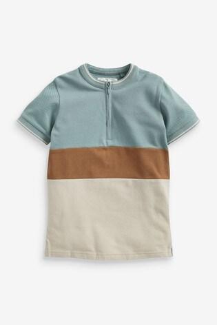 Tan/Ecru Colourblock Zip Neck Polo (3-16yrs)