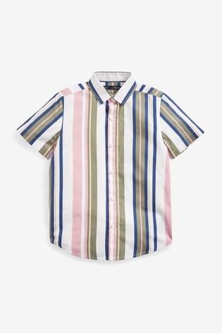 Pink/Khaki Vertical Stripe Short Sleeve Shirt (3-16yrs)