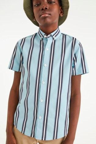 Mint Vertical Stripe Short Sleeve Shirt (3-16yrs)