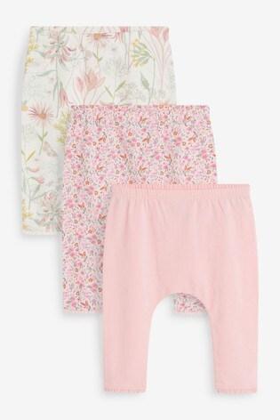 Pink/White 3 Pack Ribbed Leggings (0mths-3yrs)