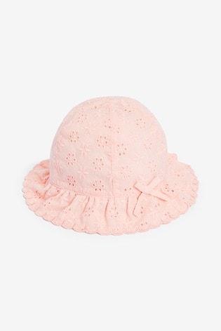 Pink Broderie Hat (0mths-2yrs)