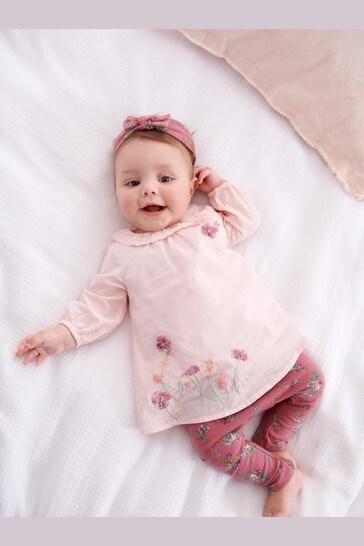 Pink Bunny T-Shirt, Leggings And Headband Set (0mths-3yrs)