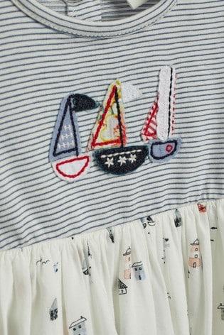 Navy/White Boat Dress (0mths-2yrs)