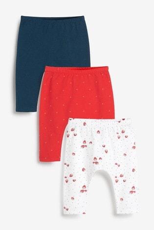 Red/Navy/White 3 Pack Strawberry Leggings (0mths-2yrs)