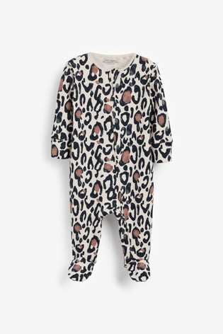 Animal Print Organic Cotton 2 Pack Zip Sleepsuits (0-3yrs)