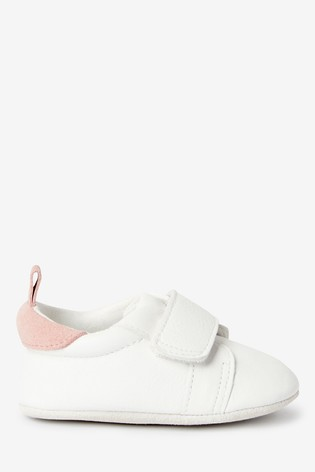 White Leather Pram Trainers (0-24mths)