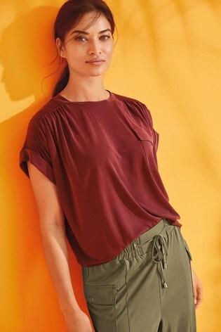 Berry Smock Shoulder Utility T-Shirt