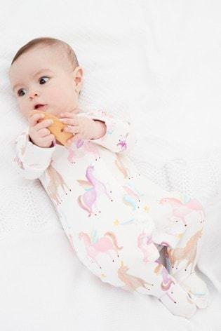 Next New Baby Girls Sleepsuit Premier Taille Rainbow Unicorn appliqué à rayures rose