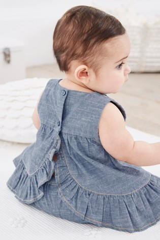 Denim Embroidered Blouse And Shorts Set (0mths-2yrs)