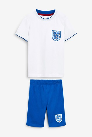 White/Blue England Football Short Pyjamas (3-16yrs)