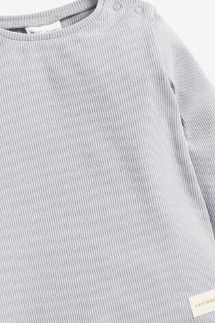 Grey T-Shirt And Leggings 4 Piece Rib Set (0mths-2yrs)
