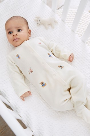 Ecru Smart Velour Bear Sleepsuit (0mths-2yrs)