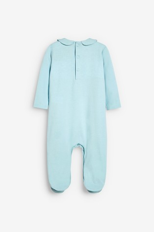 Blue Smart Smock Detail Sleepsuit (0mths-2yrs)