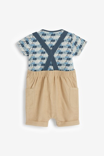 Blue Organic Cotton Whale Dungaree and Bodysuit Set (0mths-3yrs)