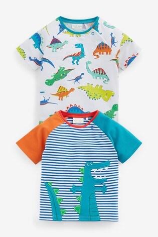 Bright 2 Pack Organic Cotton Dinosaur Stretch T-Shirts (0mths-3yrs)