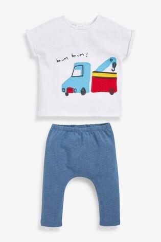 White Organic Cotton Transport T-Shirt And Legging Set (0mths-2yrs)