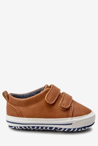 Tan Two Strap Pram Shoes (0-24mths)