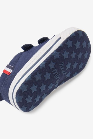 Navy Tape Two Strap Pram Shoes (0-24mths)