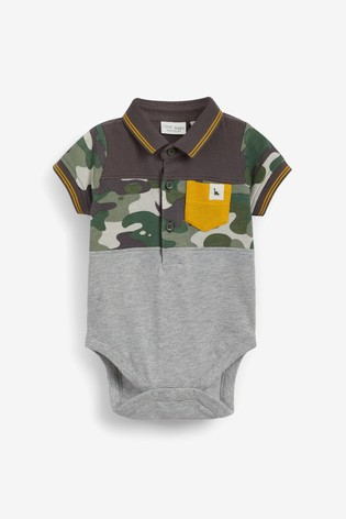 Camouflage 2 Pack Poloshirt Bodysuits (0mths-3yrs)