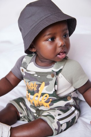 Camouflage Organic Cotton Jersey Dungaree And Bodysuit Set (0mths-3yrs)