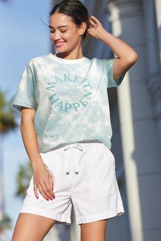 Solid White Linen Blend Shorts