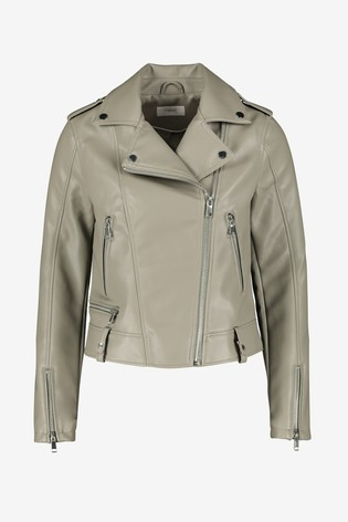 Sage Faux Leather Biker Jacket