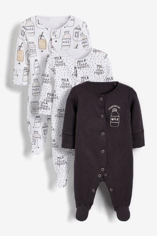 Monochrome Slogan 3 Pack Sleepsuits (0-2yrs)