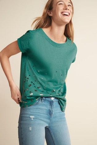 Teal Foil Spot Curved Hem T-Shirt