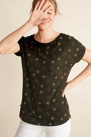 Khaki Glitter Star Curved Hem T-Shirt