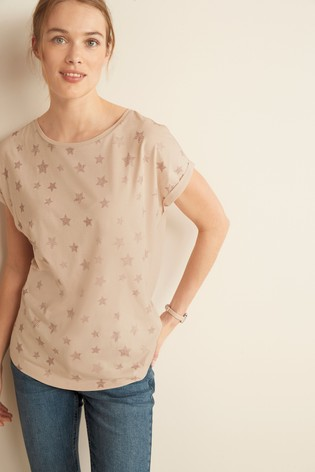 Oatmeal Glitter Star Curved Hem T-Shirt