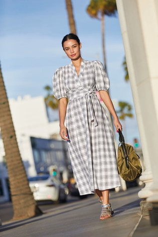 Grey Check V-Neck Midi Dress