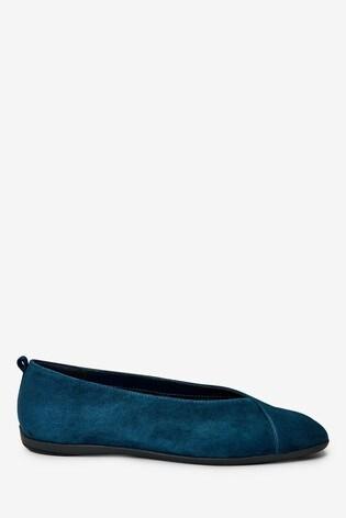 Navy Suede Regular/Wide Fit Forever Comfort® Leather Ballerina Shoes