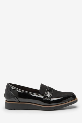 Black Material Mix Forever Comfort™ Brogue Detail Chunky Sole Loafers