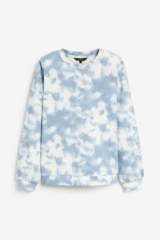 Blue Tie Dye Jersey Denim Sweatshirt