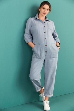 Mid Blue Maternity Denim Boilersuit
