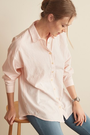 Blush Floral Embroidery Casual Shirt